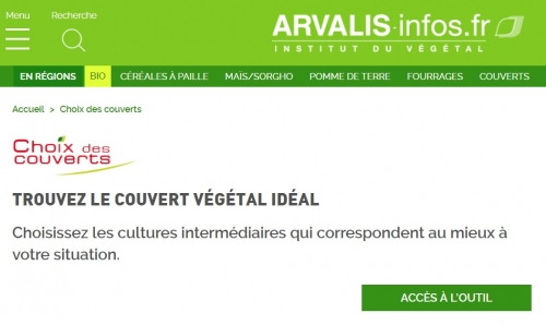 Arvalis supporting cover crops selection